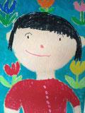 娘(5歳)の描いてくれた母さん。かろうじて笑ってます(ホッ)