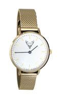 goldene Uhr mit Mesh- Edelstahlband Tracht