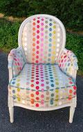 fauteuil Bergère Louis XVI rénové par l'atelier de Sylvie