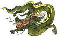Das Feuer vom Teide als Drachen dargestellt.