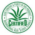 Le Comité International Scientifique pour l'Aloe Vera certifie qula pureté et le pourcentage élévé de gel pur d'aloé