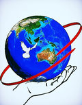Globe with a dove flying around the world as a symbol of the Holy Spirit