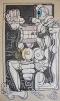 huile sur toile, collage  80x48