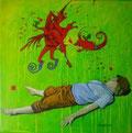 """""""Schlaflabo(h)r"""" Acryl auf LW 40x40 (2012)"""