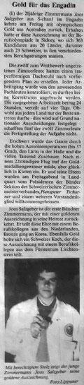 Salzgeber Holzbau S-chanf | Salzgeber Marangun S-chanf | Holzbau | Marangun | Transport |Fernheizung | S-chodamaint | Simon Salzgeber | Berufsolympiade | Gold