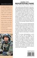 4e de couverture : journal d'un reporter militaire de Sébastien Dupont