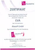EVA Praxissoftware abasoft Zertifizierung Urkunde eArztbrief eAb Brief versenden Versand von einem Arztbrief