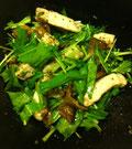 ポークと焼きナスのオイル漬け水菜サラダ