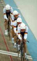 Olympische Spiele 2004 Athen 4. Platz Mannschaftsverfolgung Robert Bartko, Leif, Christian Lademann und Guido Fulst Foto: Roth
