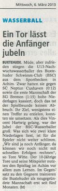 Buxtehuder Tageblatt vom 06.03.2013. Ein Tor lässt die Anfänger jubeln