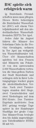 Wasserball: BSC spielte sich warm - Neue Buxtehuder Wochenblatt vom 24.08.2013