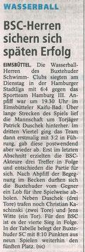 Wasserball: BSC-Herren sichern sich späten Erfolg. Buxtehuder Tageblatt vom 29.08.2013