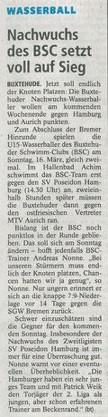 Vorbericht BSC-Wasserball U15, Buxtehuder Tageblatt vom 14.03.2014