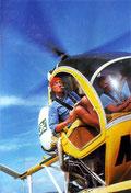 Le commandant Cousteau en hélicoptère