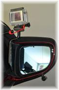rechter Seitenspiegel mit Halter und Kamera