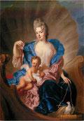 コーズル公爵夫人とキューピッドに扮する息子