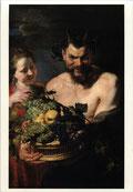 果物籠を持つサテュロスと召使いの娘
