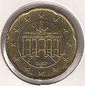 MONEDA ALEMANIA - KM 255 - 20 CÉNTIMOS DE EURO - 2.007 (F) ORO NÓRDICO (MBC-/VF-) 1,20€.