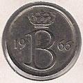 MONEDA BÉLGICA - KM 154.1 - 25 CÉNTIMOS (BELGIE) 1.966 - COBRE - NÍQUEL (MBC/VF) 0,60€.
