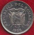 MONEDA ECUADOR - KM 85.2 - 1 SUCRE - 1.986 (CABEZA PEQUEÑA) ACERO NÍQUELADO (SC/UNC) 0,90€.