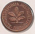 MONEDA ALEMANIA (R.F.A) KM 105 - 1 PFENNIG - 1.989 (F) COBRE (SC/UNC) 0,60€.