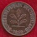 MONEDA ALEMANIA (R.F.A) KM 105 - 1 PFENNIG - 1.950 (J) COBRE (MBC/VF) 0,60€.
