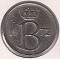 MONEDA BÉLGICA - KM 153.1 - 25 CÉNTIMOS (BELGIQUE) 1.972 - COBRE - NíQUEL (MBC/VF) 0,60€.