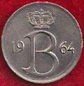 MONEDA BÉLGICA - KM 154.1 - 25 CÉNTIMOS (BELGIE) 1.964 - COBRE - NíQUEL (MBC/VF) 0,60€.