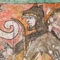 Guerrero coyote, siglo XVI. Pintura mural en la Parroquia de San Miguel Arcángel, Ixmiquilpan, Hidalgo.