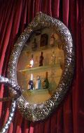 скульптура старинной серебряной рамы в стиле барокко