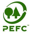 Logo PEFC, marque de certification de gestion forestière, visant à contribuer à la gestion durable des forêts