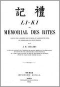 Li-ki, ou mémorial des rites. Traduction Joseph-Marie Callery