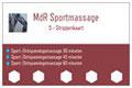 5-strippenkaart voor sportmassage en ontspanningsmassage 30 minuten, 45 minuten, 60 minuten