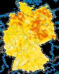 Karte zur Verbreitung des Sumpfrohrsänger (Acrocephalus palustris) in Deutschland.