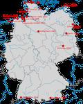 Karte zu den Beobachtungen des Wüstensteinschmätzers in Deutschland