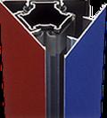 Splitprisma mit inne liegendem Sechskantrohr und Split-Lamellen für 3 Seiten