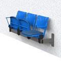 04  Traversenbank BWKL, Wandbefestigung, Lochblech-Sitzgarnitur mit Klappsitz, 3-sitzig,  BTH 1560x600/400x840 mm