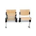13 BBKS Zweisitzer mit Klappsitz, Sperrholz-Sitzgarnitur, Bodenbefestigung, Armlehnen und Ablageplatten optional, Breite ohne AL 1040 mm, mit AL 1200 mm