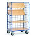 11 Etagenwagen mit Gitterwänden, die Böden lassen sich hochklappen, um höhere Gegenstände zu transportieren