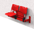 02 Traversenbank BWKL, Wandbefestigung, Lochblech-Sitzgarnitur mit Klappsitz, 2-sitzig