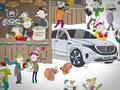 Wimmelbild Illustrationen für den Mercedes-Benz Adventskalender 2018, GfG Bremen