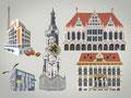 Illustrationen für das bremen invest-Magazin der Wirtschaftsförderung Bremen