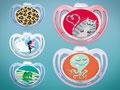 Schnuller Motive für das NUK Schnulleratelier: Katze, Elfe, Krake und Frosch