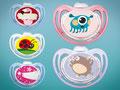 Schnuller Motive für das NUK Schnulleratelier: Flamingo, Marienkäfer, Sterne und Monster
