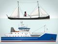 Vektor Schiffsillustration für eine Multimedia Anwendung, Bremerhaven