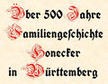 Über 500 Jahre Familiengeschichte Honecker