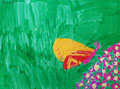 Papillon, feutres de Clément, 6 ans