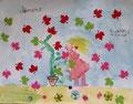 """""""Fête des mères"""", aquarelle et collages de Clément, 6 ans et demi"""
