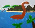 Dinosaure de Hugo, 7 ans et demi (acrylique sur toile)