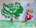 """""""Fête des mères"""", aquarelle et collages de  Pauline, 5 ans et demi"""
